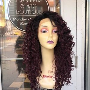 Accessories - Curly ombré red Wine Swisslace Lacefront Wig 2019